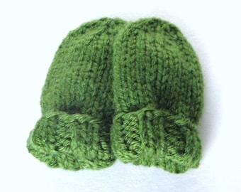 Hand Knit Green Baby Mittens in Newborn Infant Child Size 0 to 3 Months, Handmade Gift No Thumb Mitts, Boy or Girl Warm Winter Clothing