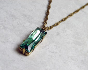 May Birthday ~ Swarovski Erinite Emerald Green Necklace - Long Rectangle Necklace ~ Vintage Inspired