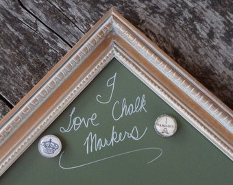 SET Magnetic Dry Erase Chalk Marker Board - Gold Vintage Style Frame - Moss Green Magnetic Board - Whitewashed Gold Frame