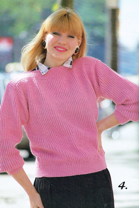 Vintage Knitting Patterns Womens 80s Sweaters Pdf Download