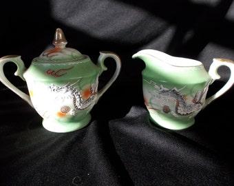 Vintage Green Dragonware Cream and Sugar