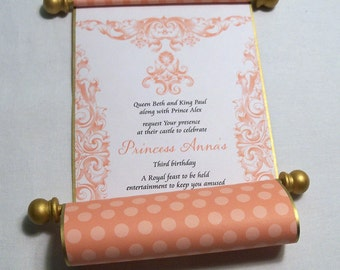 Princess invitation princess birthday party scroll paper scroll invitations for princess birthday party in mango and gold royal fairytale cinderella princess filmwisefo Images
