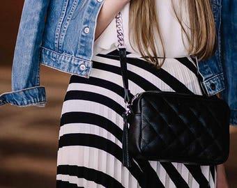 Crossbody bag - Black leather bag. BlackClutch. Black Purse.