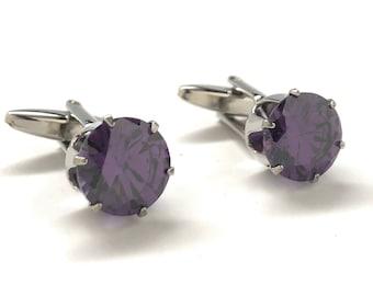 Purple Crown Cufflinks Amethyst Royal Crown Emerald Cut Rare Crystal Cuff Links Comes with Gift Box