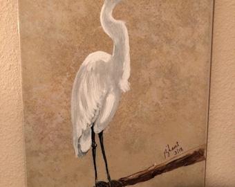 White Crane on Tile