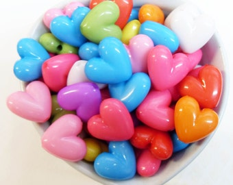25x Puffy Heart Shaped Beads in Multicolours 18mm