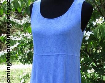 Vintage BOHO DRESS, cornflower BLUE rayon gauze, Embroidered! long sleeveless midi maxi, vintage 90s grunge bohemian, hippie chic festival