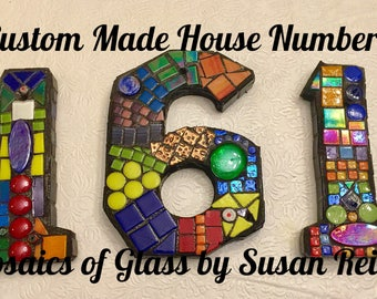 Mosaic House Numbers- address, mosaic, numbers, stained glass, letters, initials, personalized sign, house plaque, address numbers