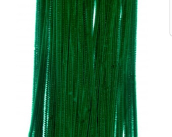 Green pipe cleaners, green chenille stems, chenille stems, pipe cleaners