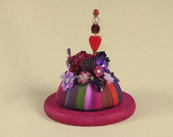 Petite Raspberry Pincushion Display for Special Pins