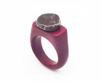 Amarant wood ring with handforged nails head