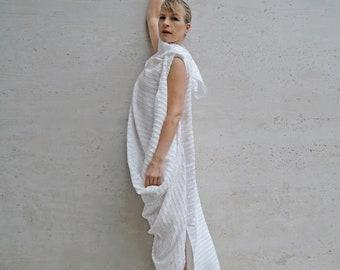 White Draped Dress, Washable Dress, Polyester Dress, Loose Fit