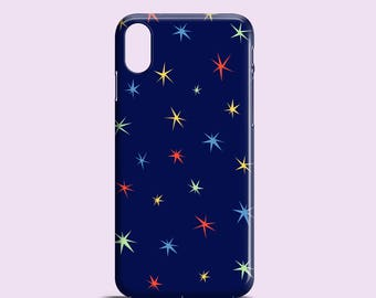 Colour Stars phone case / stars iPhone X case / Dark blue iPhone 8 case / iPhone 7 / iPhone 7 Plus / iPhone 6/6S, 5, 5S, SE, Samsung Galaxy