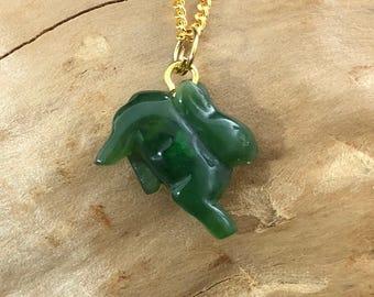 Canadian Nephrite Jade Rabbit Charm Necklace - Authentic Jade- Green Jade - Jade Pendant