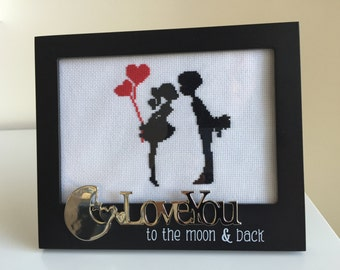 Cross stitch couple birthday  gift for boyfriend, girlfriend. Free shipping US only.