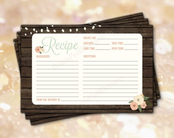 """Rustic recipe cards 4x6""""  (INSTANT DOWNLOAD) - Recipe cards printable - Recipe cards Bridal shower - Printable recipe cards WB001"""