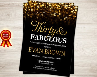 Surprise 30th Birthday Invitation for women. Thirty and Fabulous Birthday Invitation Printable Black Gold Glitter 30th Birthday Invite Bokeh