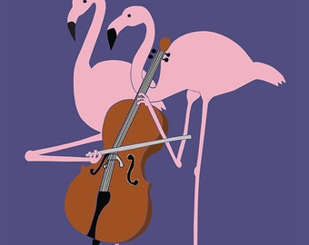 Flamingo's playing the cello postcards - 5pcs