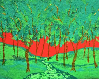 "Twilight Woods #257 (ARTIST TRADING CARDS) 2.5"" x 3.5"" by Mike Kraus - green red stocking stuffer gift present trees forest woods nature fun"