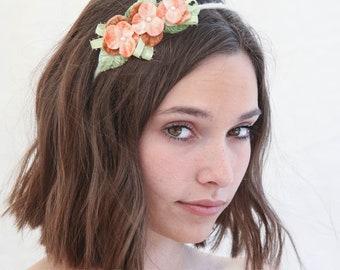 Flower Headband of Peach Vintage Velvet Pansies and Green Leaves Flower Crown Floral Hair Band