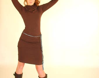 Pencil Skirt - Chocolate Brown Jersey - Several Colors Avialble - Eco Friendly - Organic Clothing