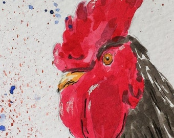 Rooster ORIGINAL Miniature Watercolour, wildlife, farmyard,  ACEO, For him, For her, Home Decor, Wall Art, Gift Idea, Free Shipping