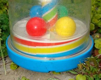 Vintage Playskool Popper. 80s Preschool Toy. Toy Carousel Ball Popper / Swirls and Sounds / Mesmerizing Kids Spinner