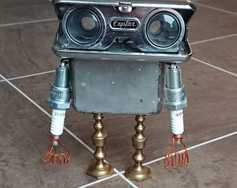 Quirky Steampunk Robot Junkbot. Vintage. Upcycle/recycled. Assembled art sculpture
