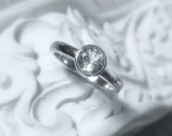 25% OFF Size 6 White Topaz Sterling Silver, Size 6, Ready to Ship, Diamond Alternative, Bezel