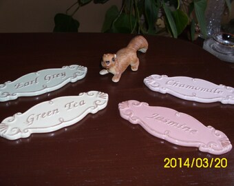 Lovely Ceramic Pastel Tea Plaques/Signs-Decorative/Tea Room/Boutique/Display-Chamomile/Jasmine/Green Tea/Ear Grey
