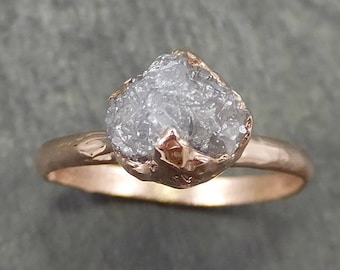 Raw Diamond Solitaire Engagement Ring Rough Uncut Rose gold Conflict Free Silver Diamond Wedding Promise 0688