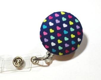 Navy Rainbow Heart Badge Reel Retractable ID Badge Reel ID Badge Holder Name Badge Clip Badge Pull Nurse Badge Reel Retractable Badge Holder