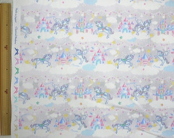 2018 Classical and Modern Japanese Fabric  / Unicorn Castle Light Gray - 50cm x 110cm