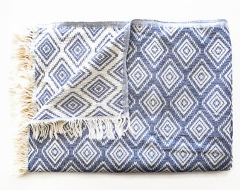 Blue Cotton Sofa Throw Blanket | Boho Bed Throws | Blue Coverlet / Bed Cover / Couch Throw / Armchair Cover | Southwestern Outdoor Blanket
