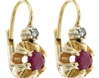 Yellow gold earrings with rubies and diamonds, Italian natural stones pendant earrings, handcrafted jewellery for her, Monachella earrings