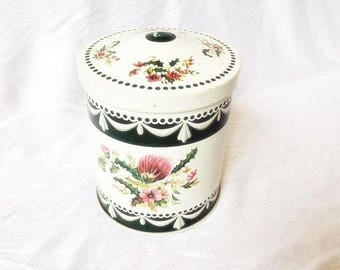 Vintage Flower Tin Canister Made In West Germany Beautiful Flower Tin