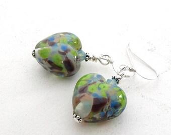 Glass Heart Earrings, Lampwork Beads, Sterling Silver Wires, Purple Green Blue, Spotty Bead Earrings