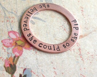 Hand Stamped Copper Washer . Washer ONLY . Large Size . Genuine Copper Metal . Very Thick Charm . Coordinates, Names, Dates, Wedding Gift
