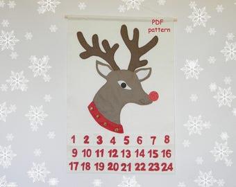 PDF Pattern Reindeer Advent calendar Christmas Felt Advent Calendar Christmas Countdown Wall hanging digital download