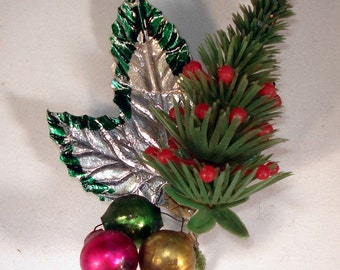 Vintage Plastic Christmas Tree, Small, Glass Balls, Decoration, Package Tie/ Holiday Decoration  (624-10)