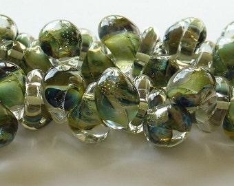 10mm Unicorne Tear Drop Lampwork Beads - Olive Green - 4 Pieces - 21080