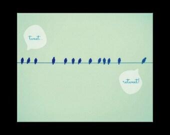 Twitter - 16 x 20 portefeuille imprimé toile, art, nature, photographie, oiseaux, tweet, Twitter, twitter, bleu, ciel, plein d'humour
