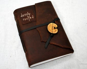 Deeply Rooted Leather Journal with Recycled Paper-Large