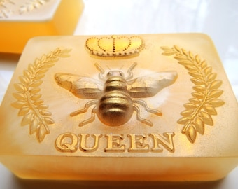QUEEN BEE Soap, Goats Milk and Honey Mixed or Goats Milk Highlight, Scented in Oatmeal Milk and Honey, Honey Bee Soap,
