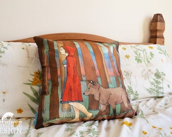 Red Riding Hood Illustration Throw CushionCushion Cover, Throw Cushion, Pillow, Decorative Cushion