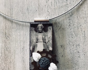 Gothic angel , domino , steampunk necklace