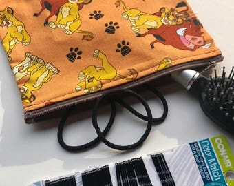Lion King Makeup Bag - Pencil Bag - Travel Bag - Zipper Bag - Lion King Fabric Wallet - Geeky Makeup Bag - Coin Purse - Lion King Dice Bag