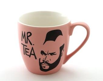 Mr T Tea Mug Pink , pink Mr. tea mug , upcycled and altered, 80s nostalgia, funny mug , large coffee mug