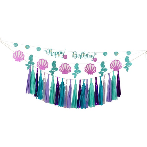 Mermaid Banner Kit, Iridescent Tassels, Mermaid Birthday Banner, Birthday Party Decor, Girl, Wedding Baby Shower Bachelorette Ocean Beachy