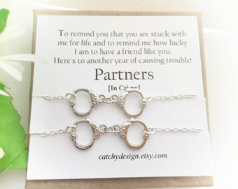 best friend gift set of 2 partners in crime braceletshandcuff braceletbffwith friendship quotelong distance friendchristmas gift - Best Friend Christmas Gifts